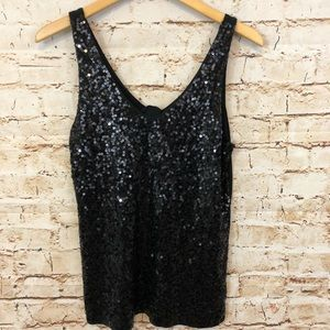 J Crew black sequined tank top sleeveless vneck M
